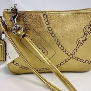 NWT Coach Wristlet Metallic Gold ID Pouch Clutch
